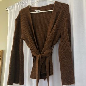 Prologue brown wrap sweater